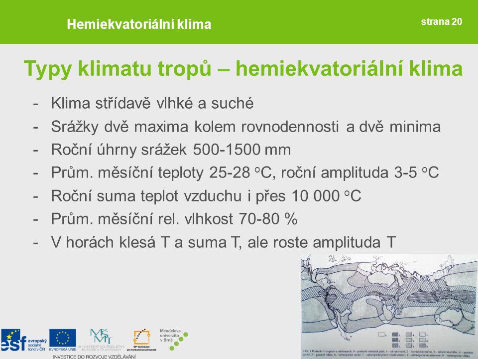 Typy klimatu tropů – hemiekvatoriální klima