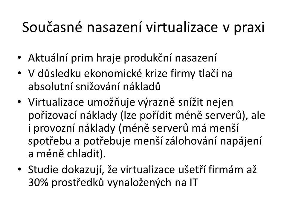 Současné nasazení virtualizace v praxi