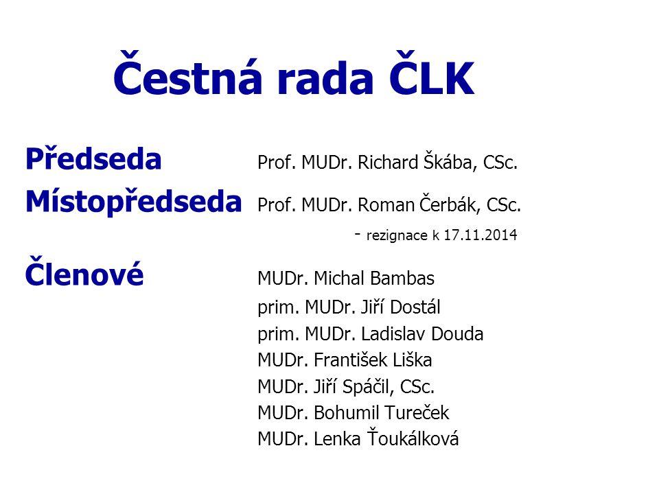 Čestná rada ČLK Předseda Prof. MUDr. Richard Škába, CSc.