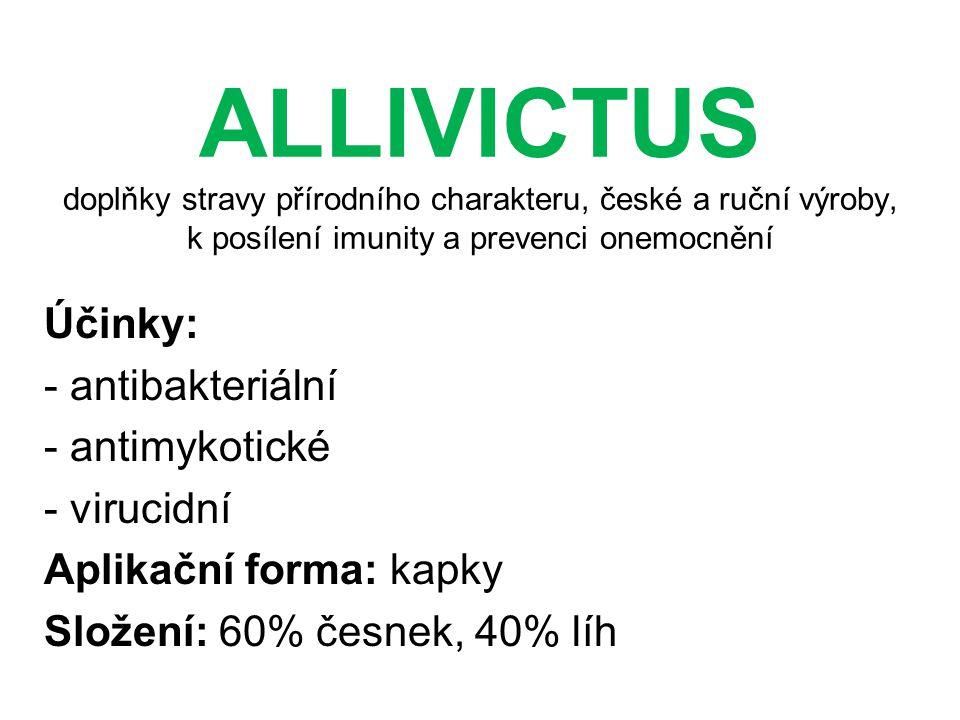 ALLIVICTUS doplňky stravy přírodního charakteru, české a ruční výroby, k posílení imunity a prevenci onemocnění