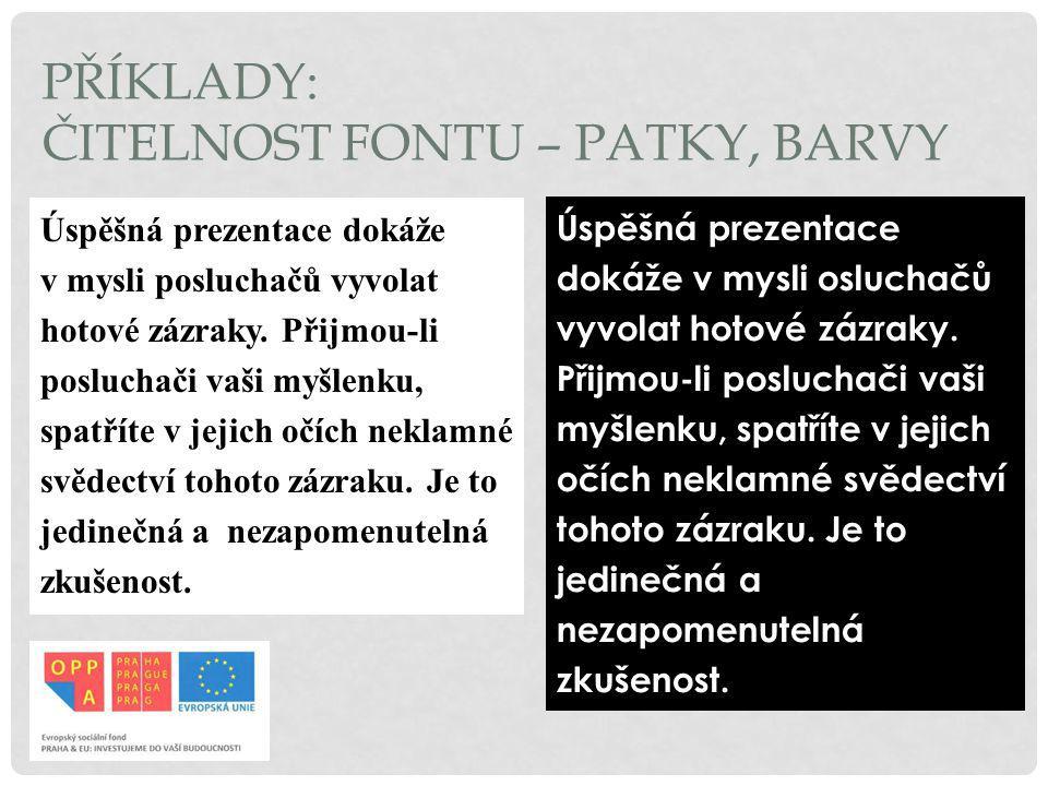ČITELNOST FONTU – PATKY, BARVY