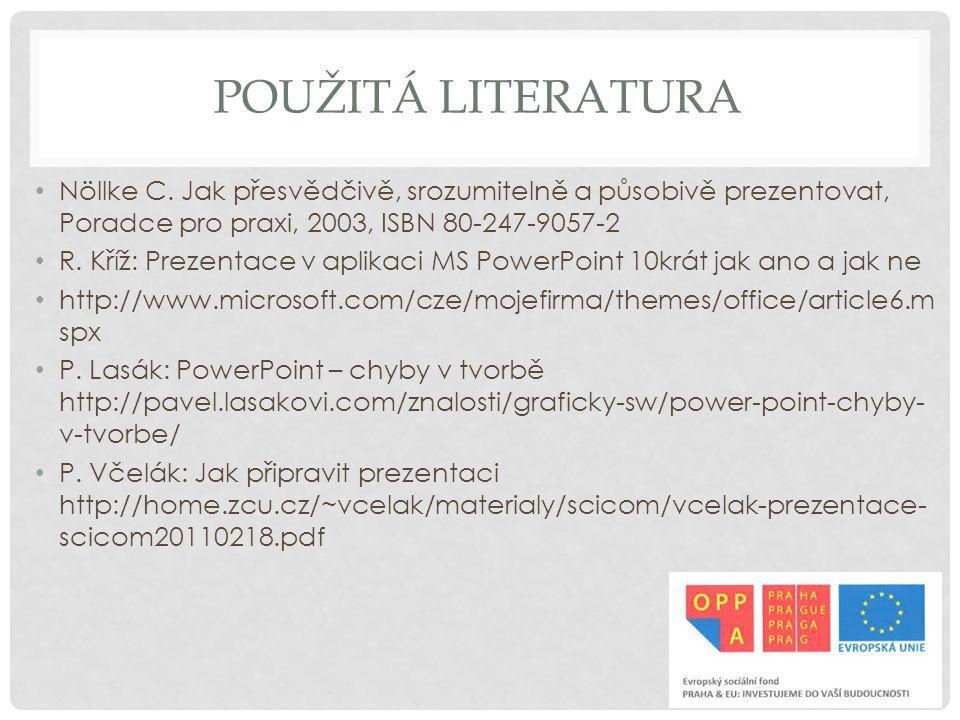Použitá literatura Nöllke C. Jak přesvědčivě, srozumitelně a působivě prezentovat, Poradce pro praxi, 2003, ISBN 80-247-9057-2.