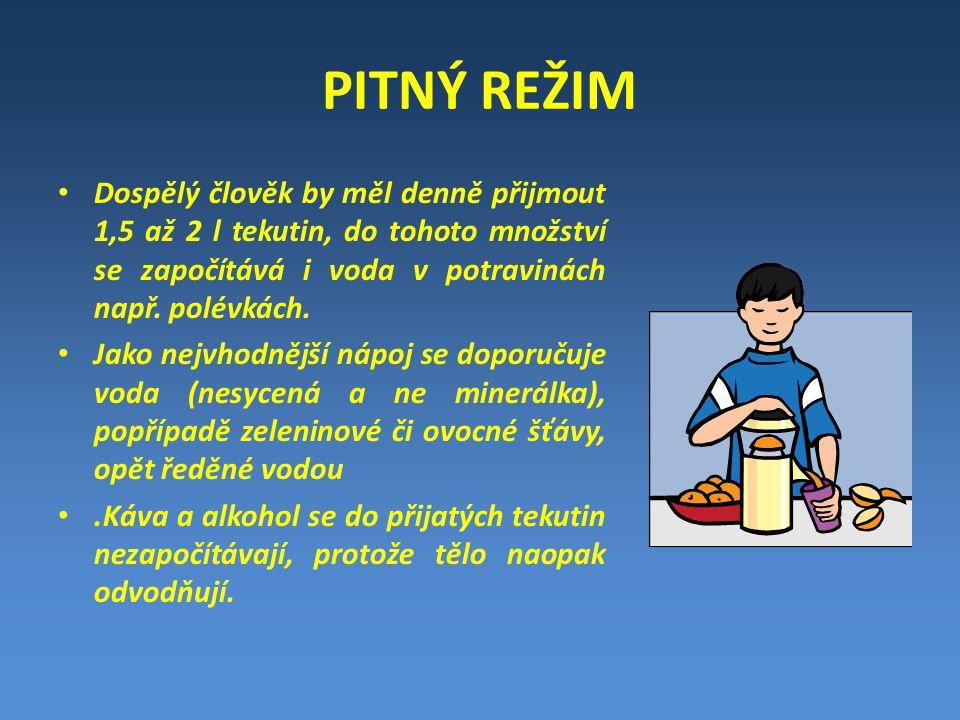 PITNÝ REŽIM Dospělý člověk by měl denně přijmout 1,5 až 2 l tekutin, do tohoto množství se započítává i voda v potravinách např. polévkách.