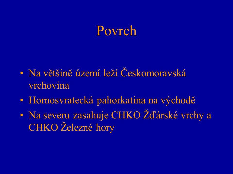 Povrch Na většině území leží Českomoravská vrchovina