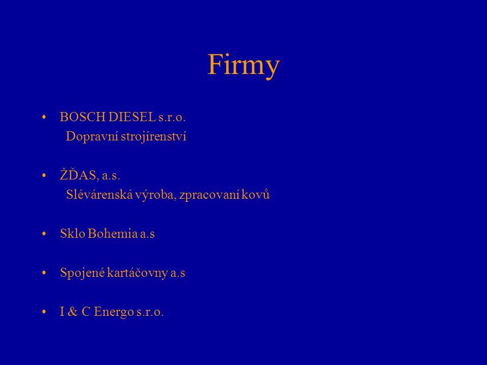 Firmy BOSCH DIESEL s.r.o. Dopravní strojírenství ŽĎAS, a.s.