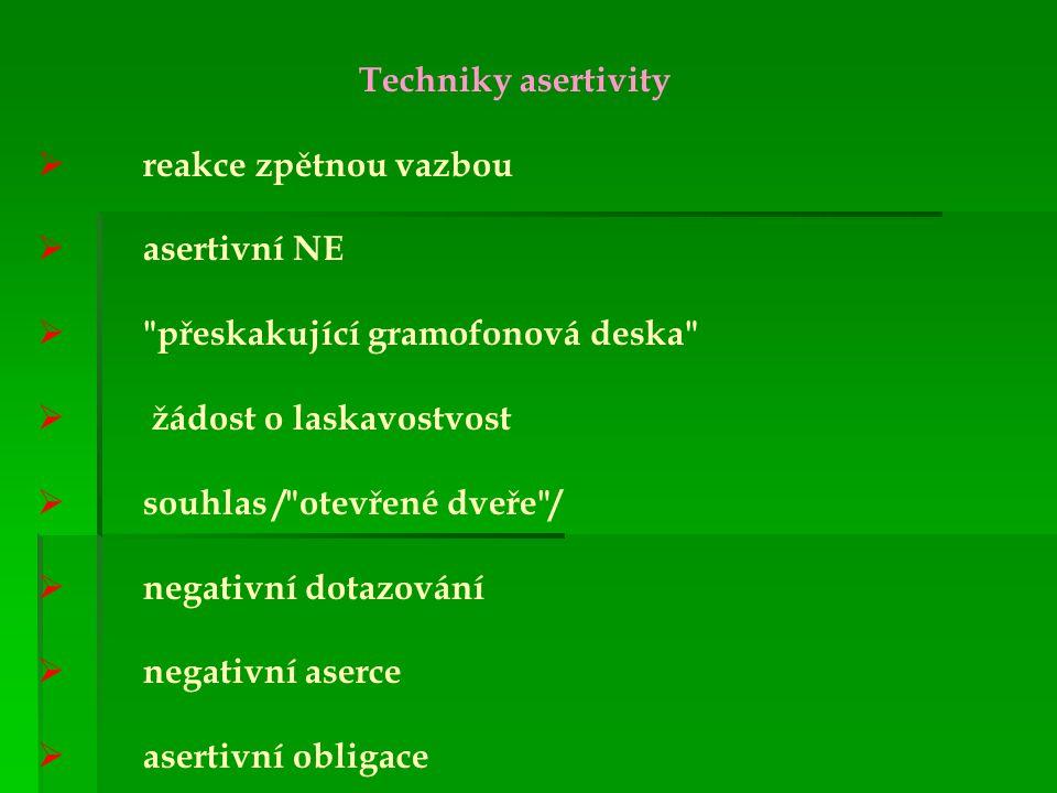 Techniky asertivity reakce zpětnou vazbou. asertivní NE. přeskakující gramofonová deska žádost o laskavostvost.