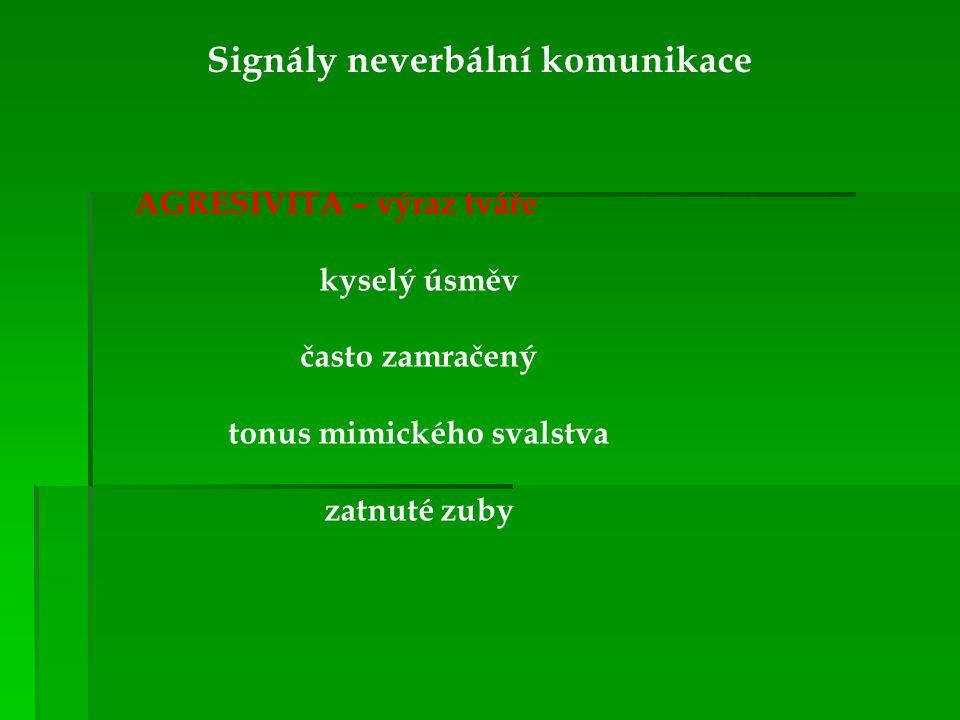 Signály neverbální komunikace tonus mimického svalstva