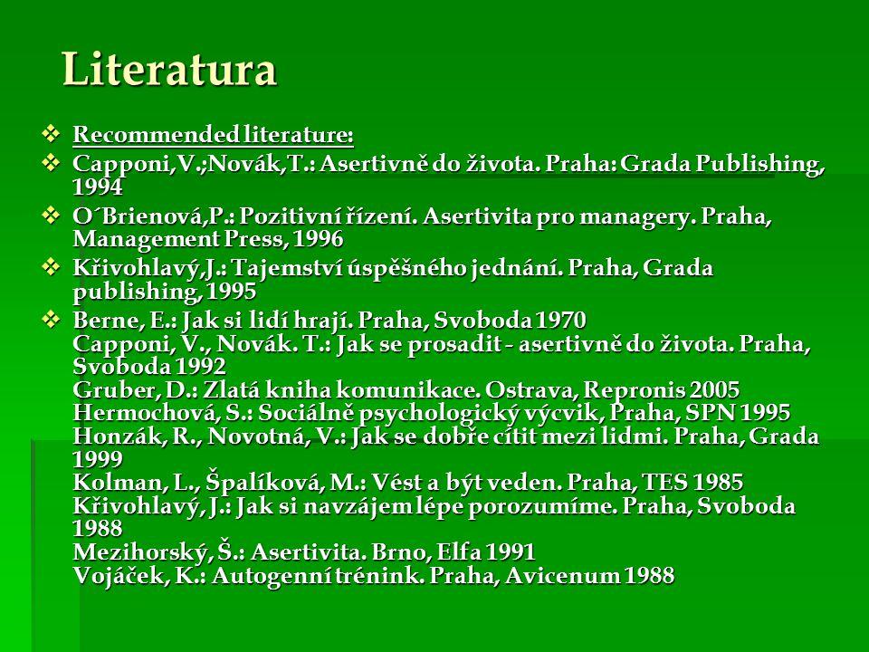 Literatura Recommended literature: