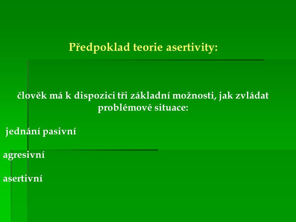 Předpoklad teorie asertivity: