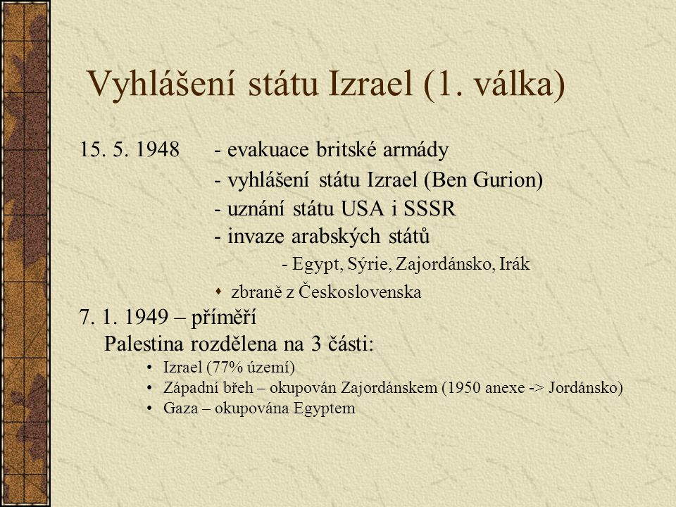 Vyhlášení státu Izrael (1. válka)