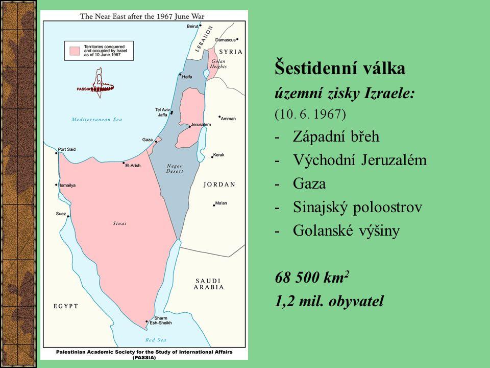 Šestidenní válka územní zisky Izraele: Západní břeh Východní Jeruzalém