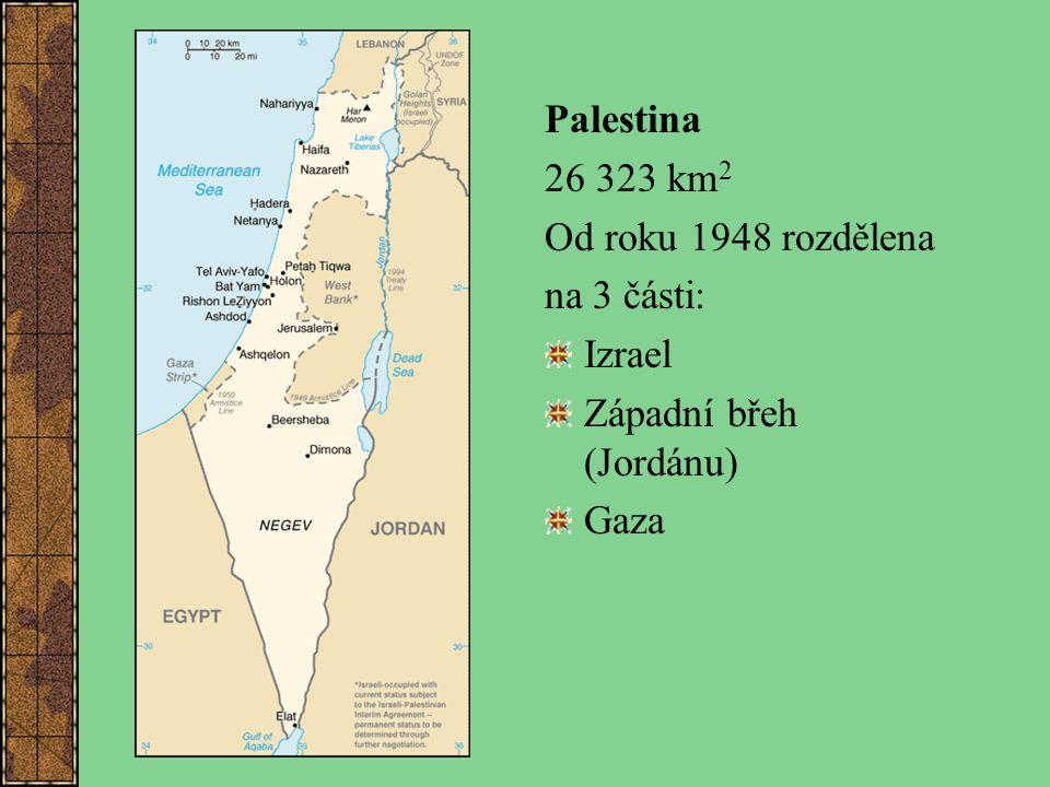 Palestina 26 323 km2 Od roku 1948 rozdělena na 3 části: Izrael Západní břeh (Jordánu) Gaza