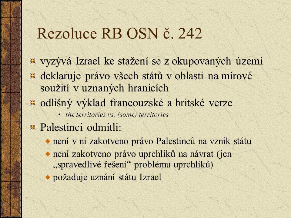 Rezoluce RB OSN č. 242 vyzývá Izrael ke stažení se z okupovaných území
