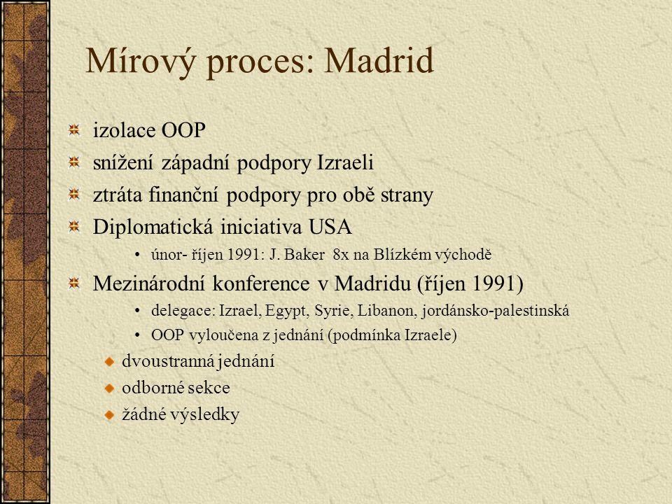 Mírový proces: Madrid izolace OOP snížení západní podpory Izraeli