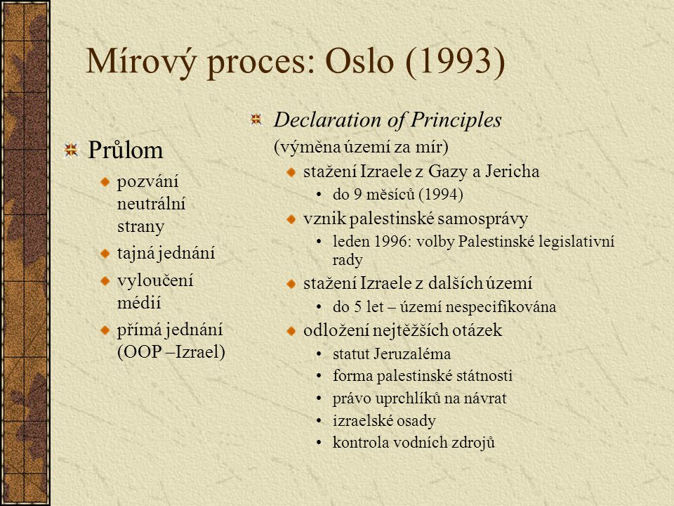 Mírový proces: Oslo (1993) Průlom Declaration of Principles