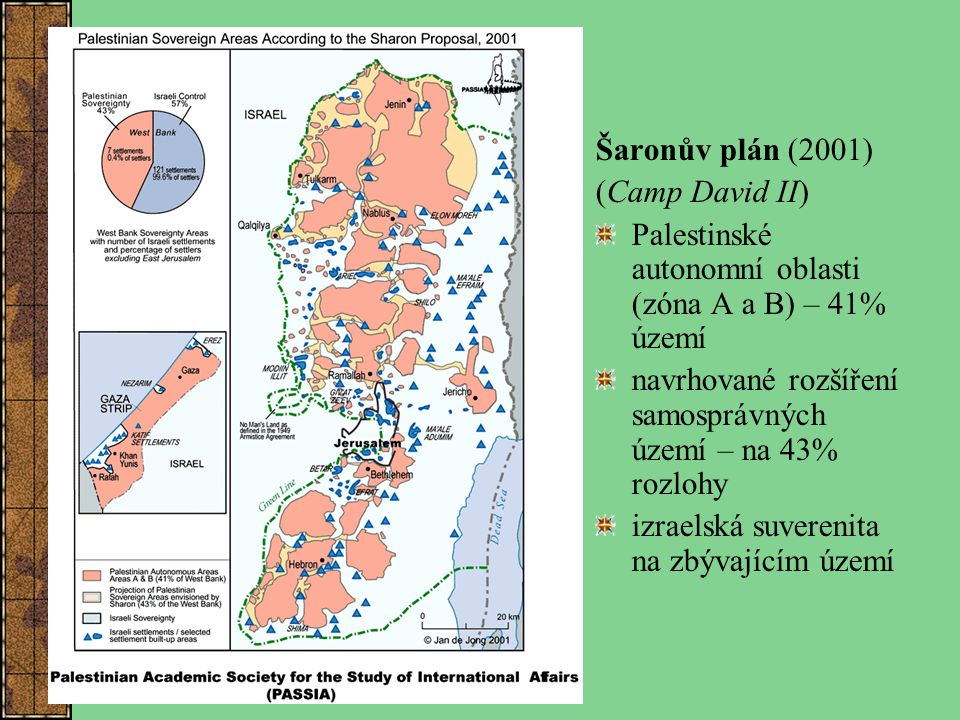 Šaronův plán (2001) (Camp David II) Palestinské autonomní oblasti (zóna A a B) – 41% území.