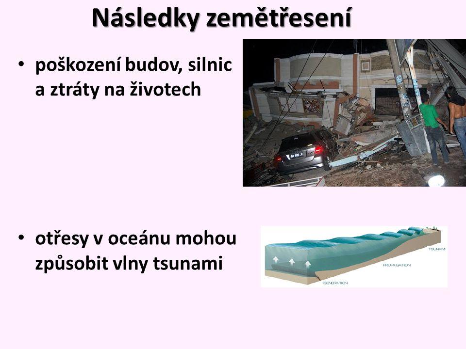 Následky zemětřesení poškození budov, silnic a ztráty na životech