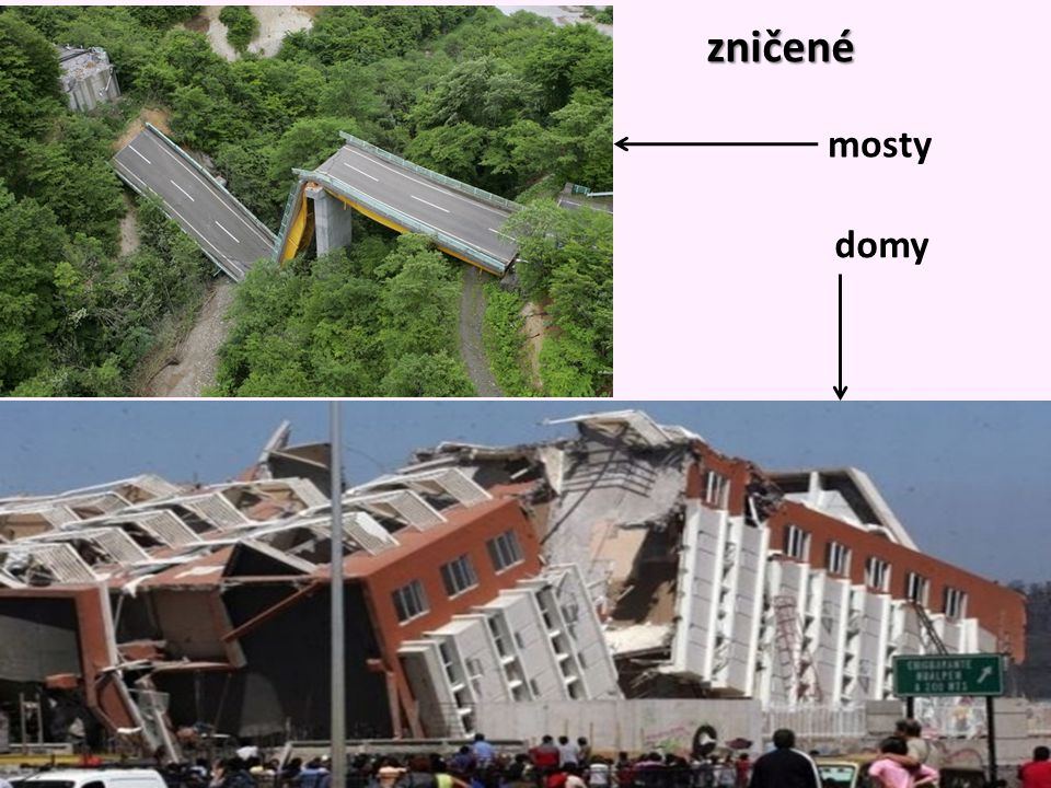zničené mosty domy