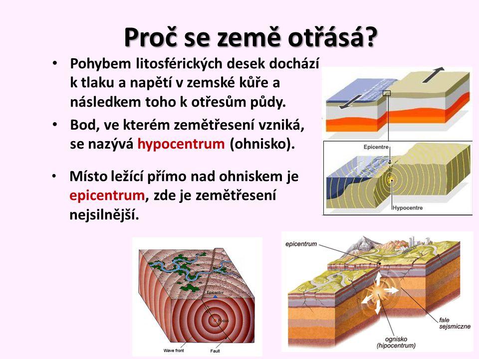 Proč se země otřásá Pohybem litosférických desek dochází k tlaku a napětí v zemské kůře a následkem toho k otřesům půdy.