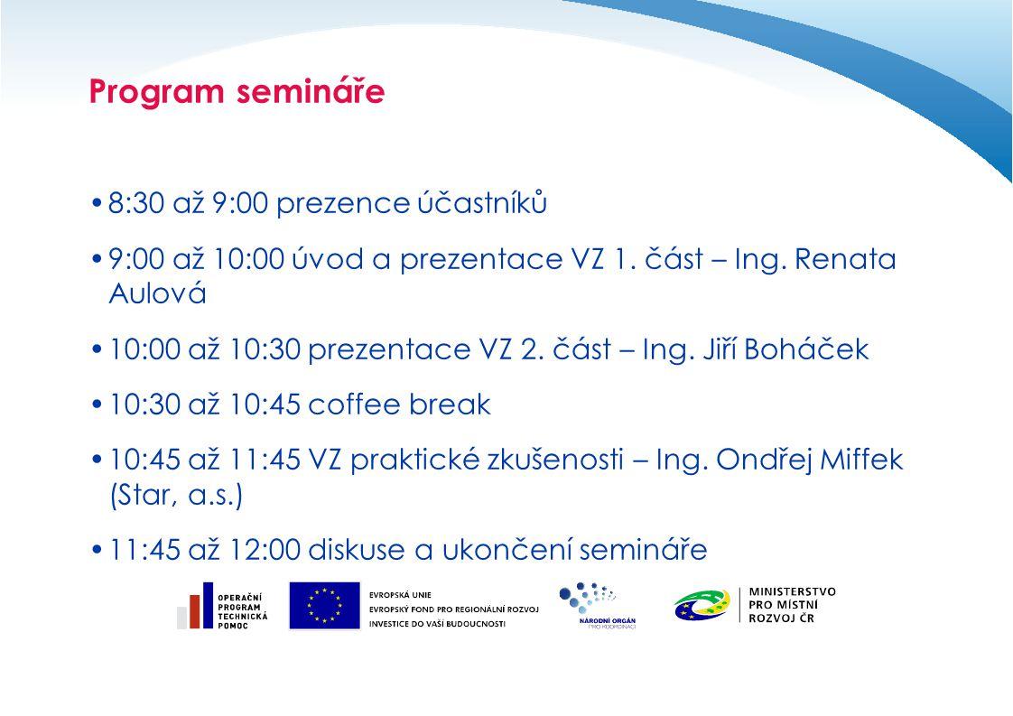 Program semináře 8:30 až 9:00 prezence účastníků