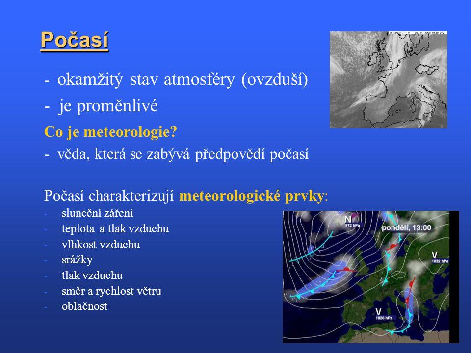 Počasí - je proměnlivé - okamžitý stav atmosféry (ovzduší)