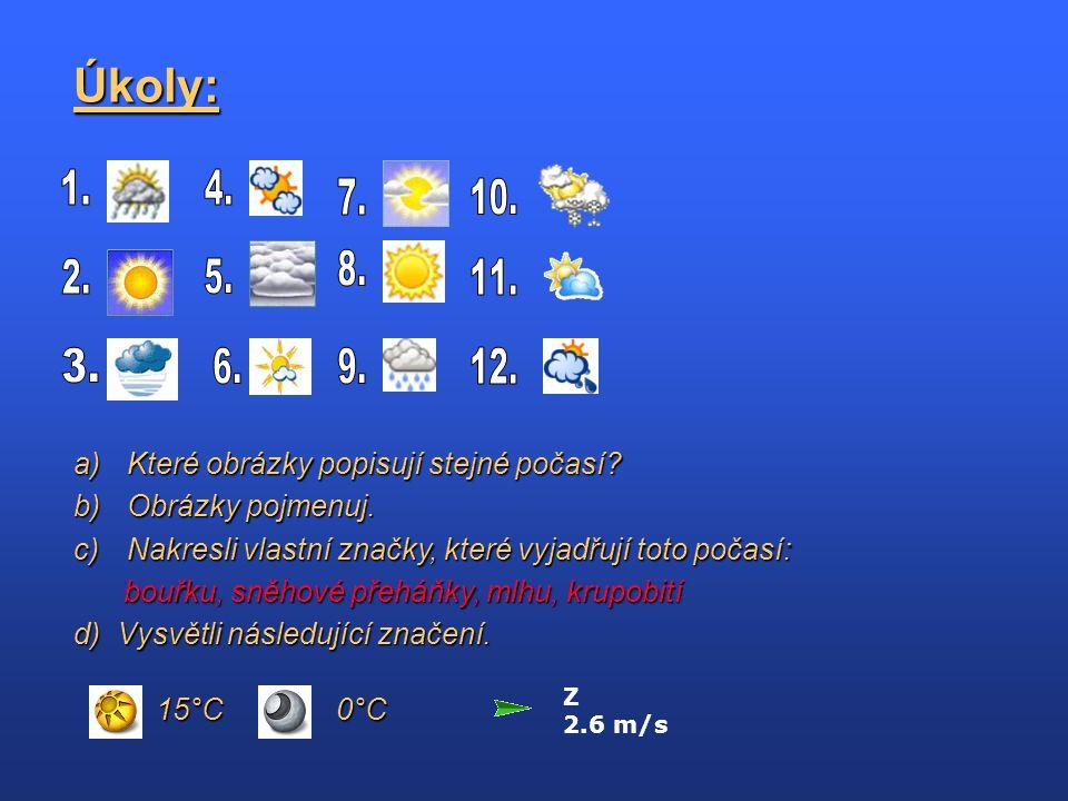 Úkoly: Které obrázky popisují stejné počasí Obrázky pojmenuj.