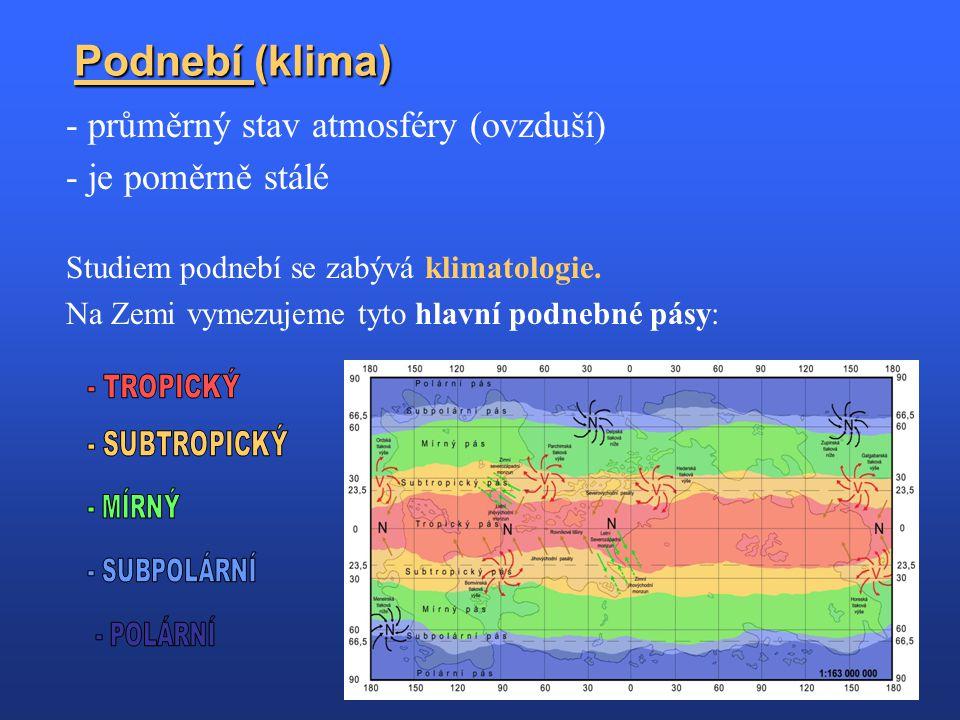 Podnebí (klima) - průměrný stav atmosféry (ovzduší) - je poměrně stálé