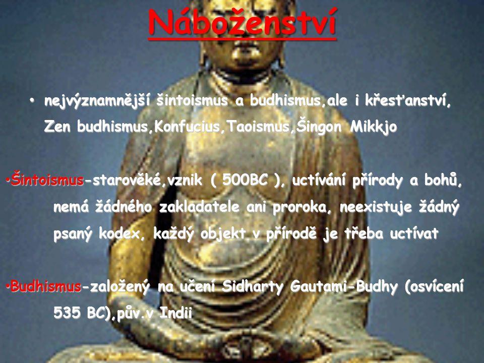 Náboženství nejvýznamnější šintoismus a budhismus,ale i křesťanství,
