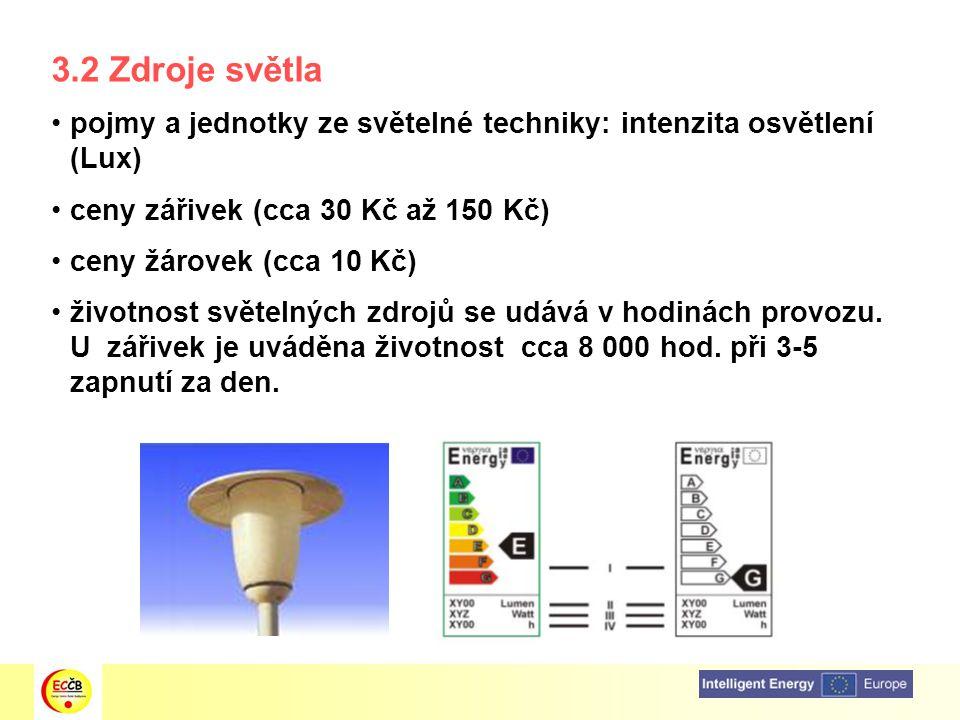 3.2 Zdroje světla pojmy a jednotky ze světelné techniky: intenzita osvětlení (Lux) ceny zářivek (cca 30 Kč až 150 Kč)