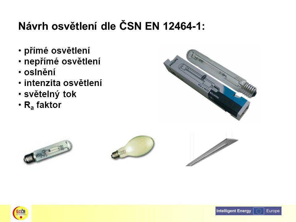 Návrh osvětlení dle ČSN EN 12464-1: