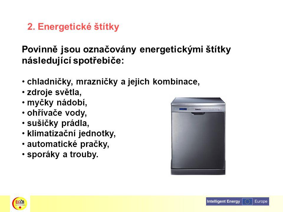 Povinně jsou označovány energetickými štítky následující spotřebiče: