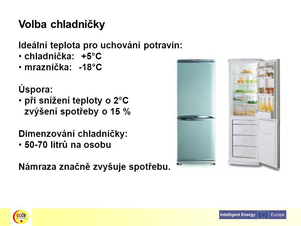 Volba chladničky Ideální teplota pro uchování potravin: