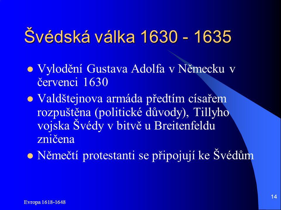 Švédská válka 1630 - 1635 Vylodění Gustava Adolfa v Německu v červenci 1630.
