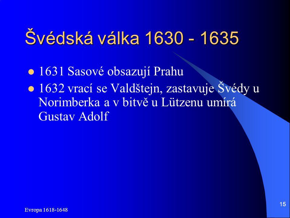 Švédská válka 1630 - 1635 1631 Sasové obsazují Prahu