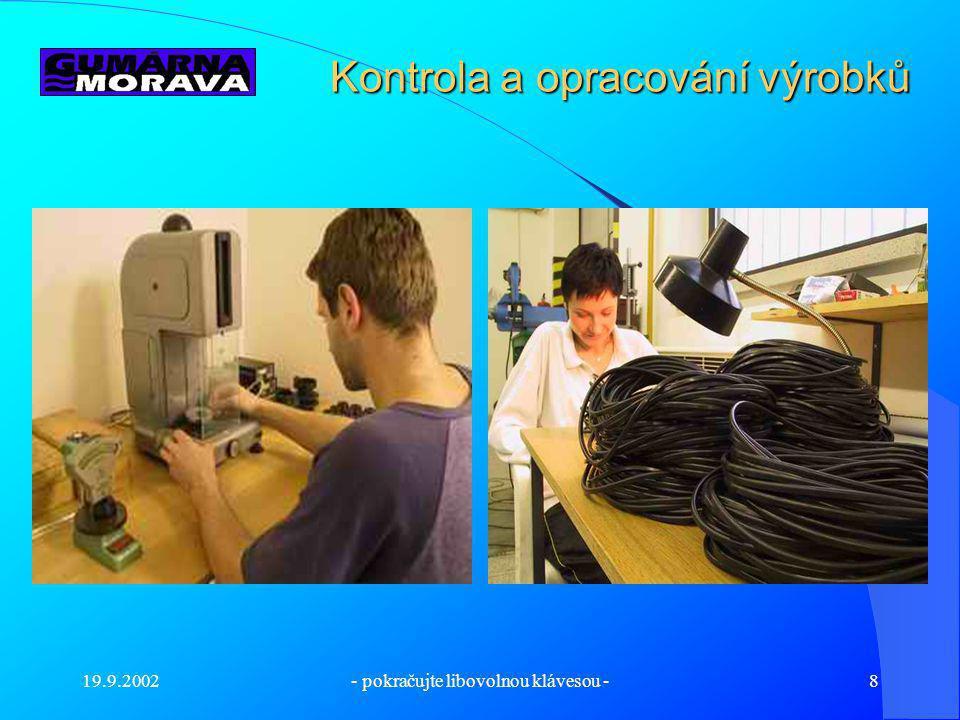 Kontrola a opracování výrobků