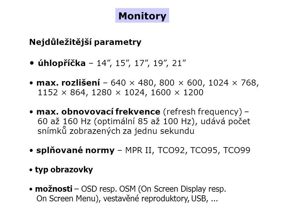 Monitory úhlopříčka – 14 , 15 , 17 , 19 , 21 Nejdůležitější parametry