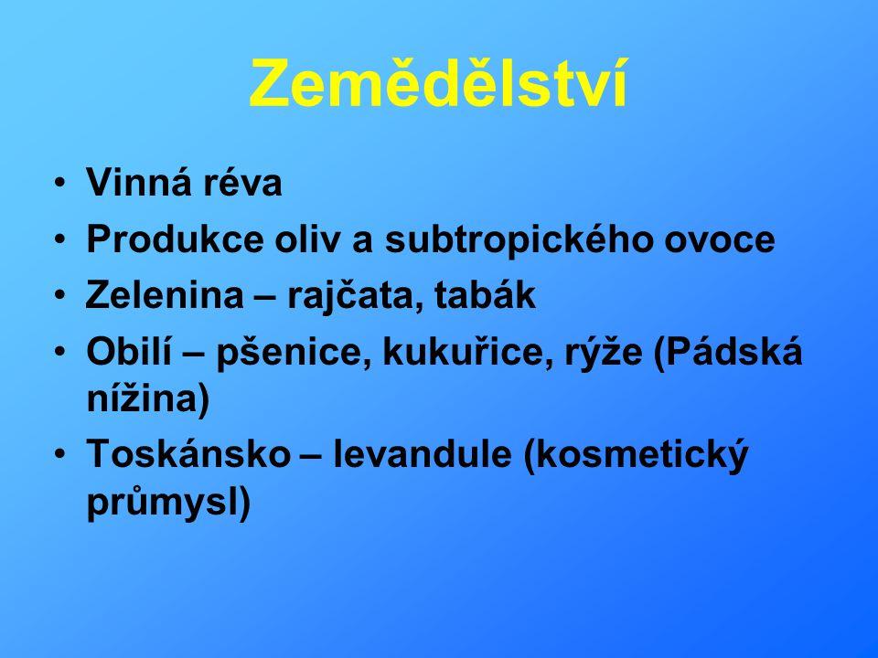 Zemědělství Vinná réva Produkce oliv a subtropického ovoce
