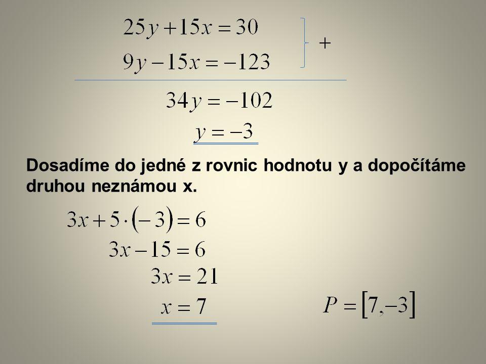 Dosadíme do jedné z rovnic hodnotu y a dopočítáme druhou neznámou x.