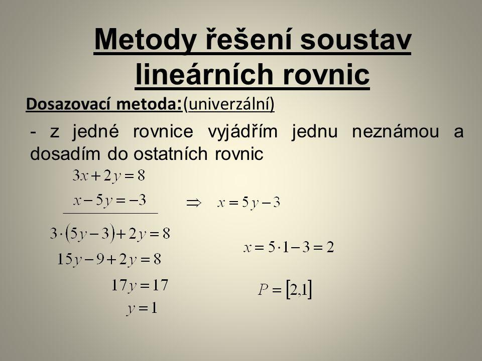 Metody řešení soustav lineárních rovnic