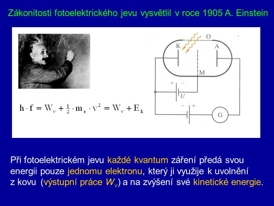 Zákonitosti fotoelektrického jevu vysvětlil v roce 1905 A. Einstein