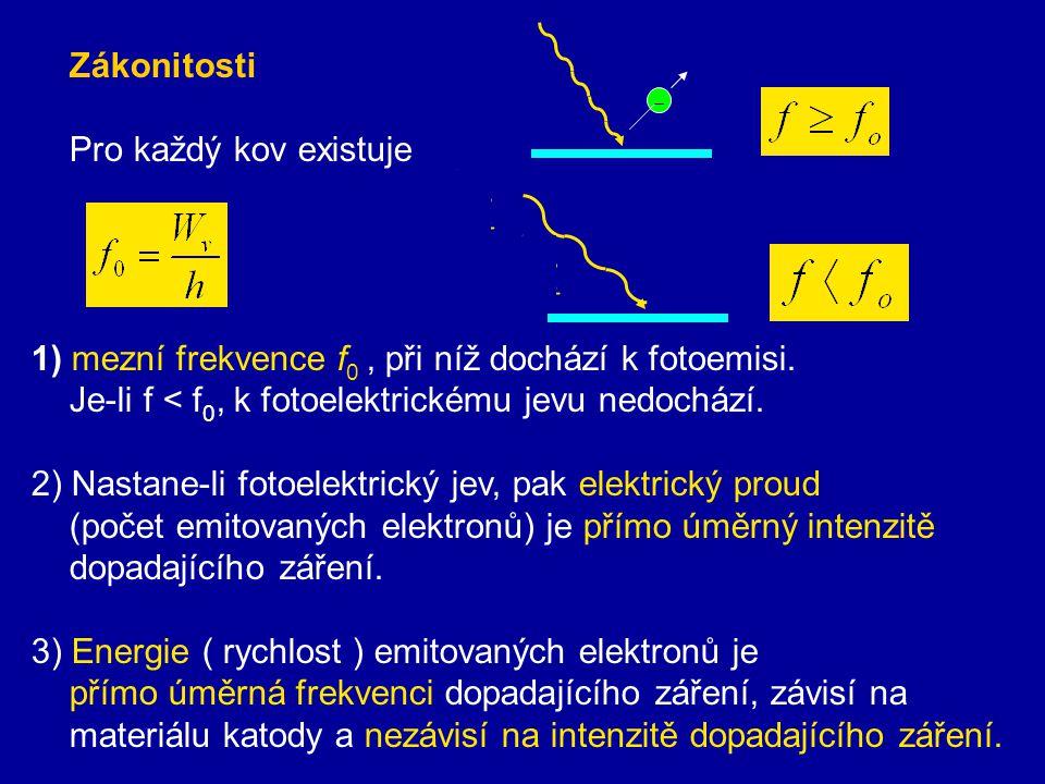 Zákonitosti Pro každý kov existuje. 1) mezní frekvence f0 , při níž dochází k fotoemisi. Je-li f < f0, k fotoelektrickému jevu nedochází.