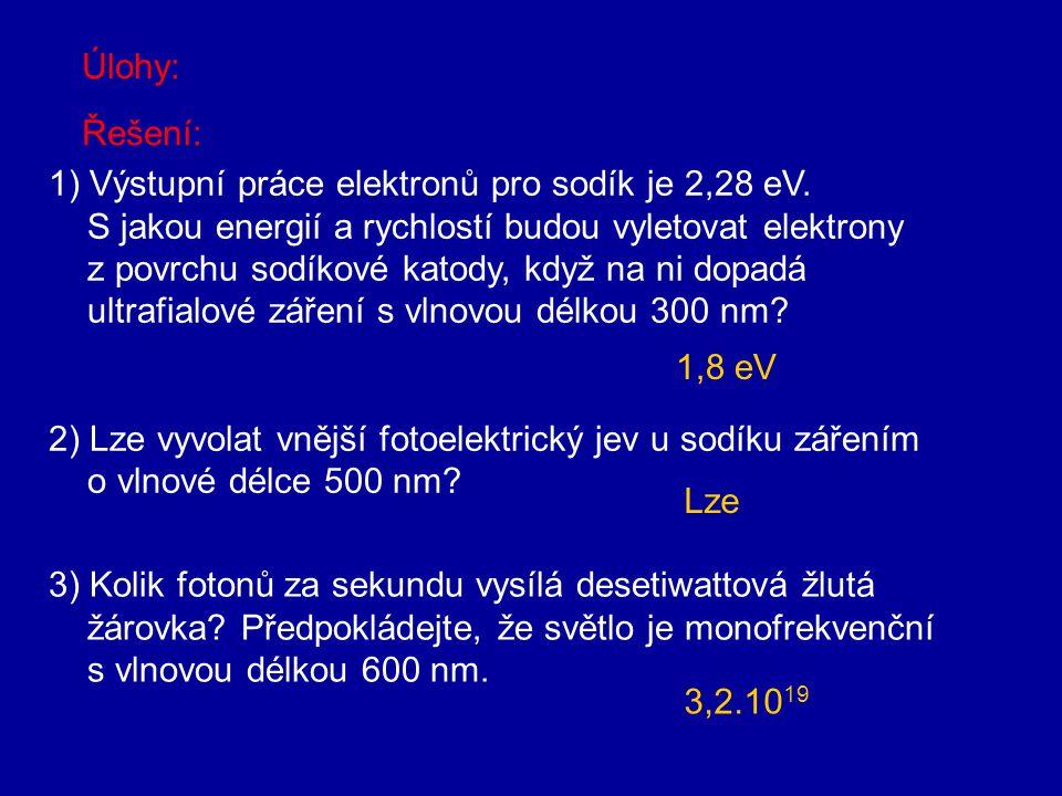Úlohy: Řešení: 1) Výstupní práce elektronů pro sodík je 2,28 eV. S jakou energií a rychlostí budou vyletovat elektrony.