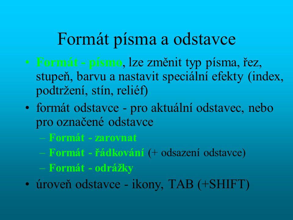 Formát písma a odstavce