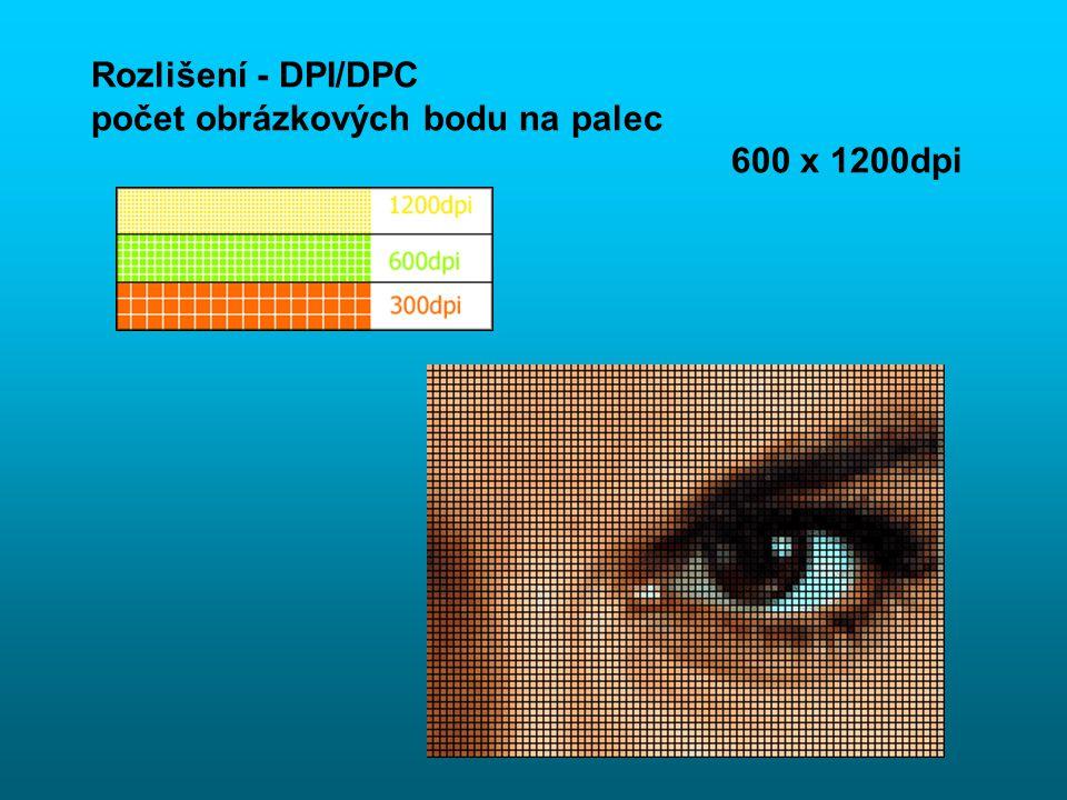 Rozlišení - DPI/DPC počet obrázkových bodu na palec 600 x 1200dpi