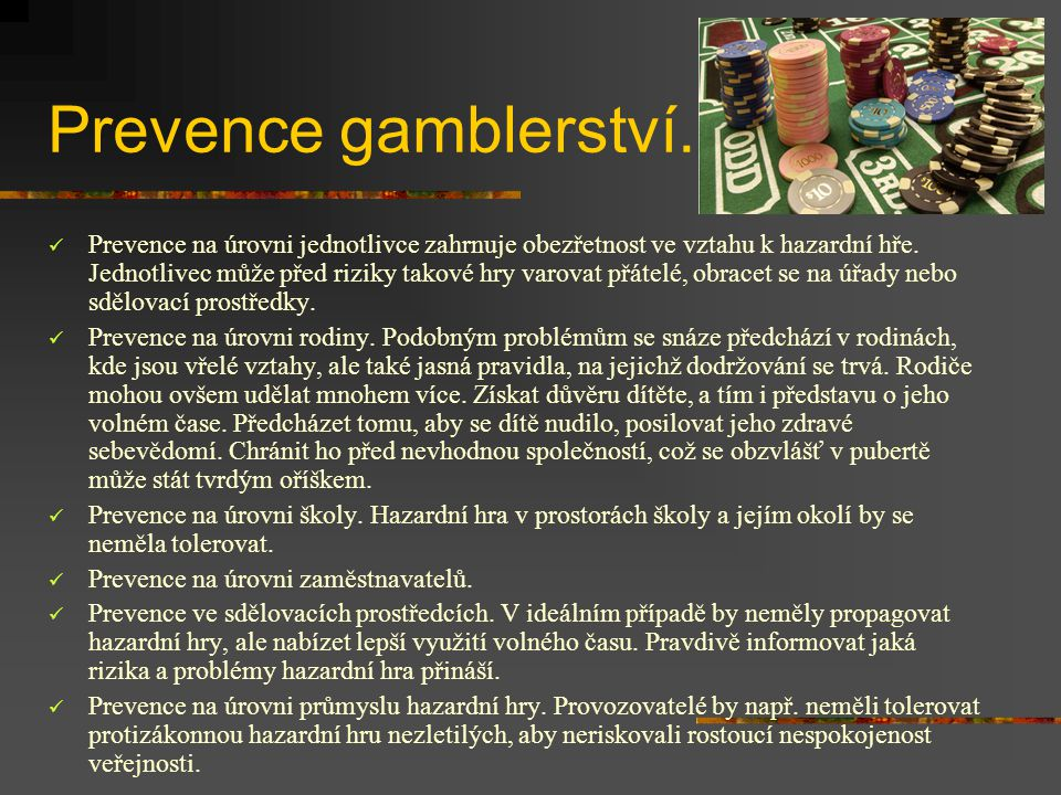 Prevence gamblerství.