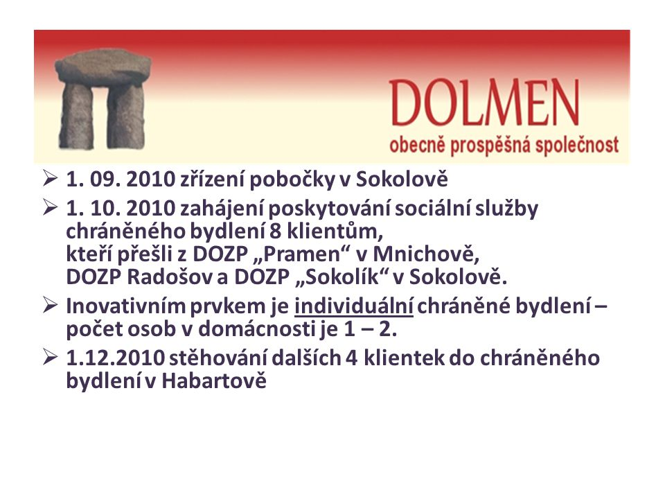1. 09. 2010 zřízení pobočky v Sokolově