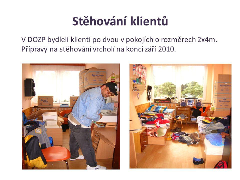Stěhování klientů V DOZP bydleli klienti po dvou v pokojích o rozměrech 2x4m.