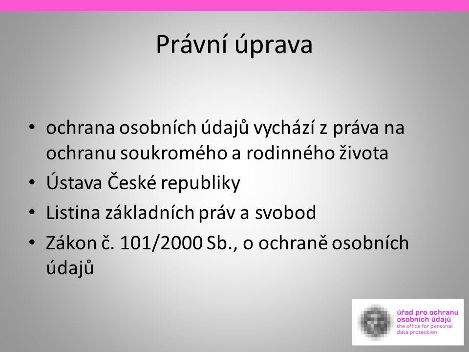 Právní úprava ochrana osobních údajů vychází z práva na ochranu soukromého a rodinného života. Ústava České republiky.