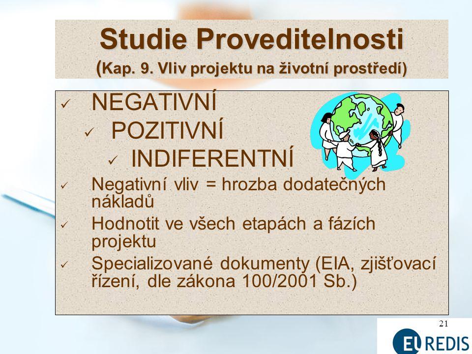 Studie Proveditelnosti (Kap. 9. Vliv projektu na životní prostředí)