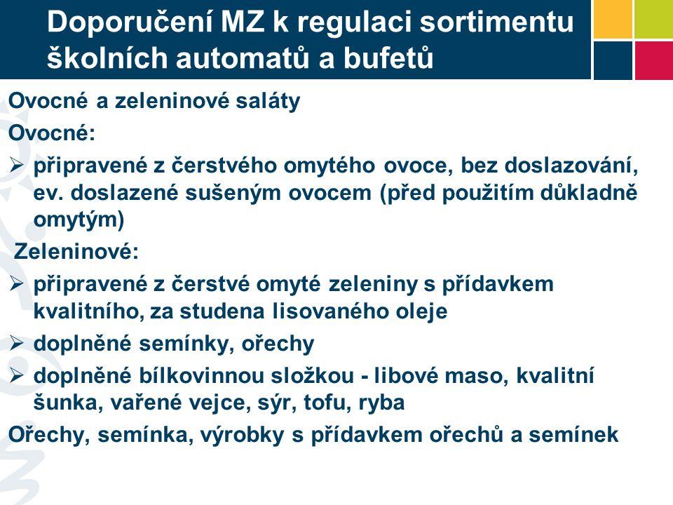 Doporučení MZ k regulaci sortimentu školních automatů a bufetů